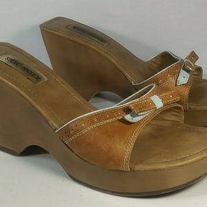 Steve Madden Wedge Heel Sandals 10 B Brown & Blue